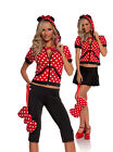 """NEW Women's Storybook Costume """"Miss Mouse"""" Minnie Mouse Hoodie Capri & Skirt"""