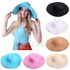 Women's Large Floppy Folding Wide Brim Cap Summer Wedding Sun Straw Beach Hat