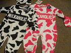 "BNWT Novelty baby cow print ""Milkaholic"" 3 piece sleepsuit outfit pink or black"