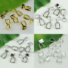 50/100/200pcs Pendant Pinch Bails Silver/Dull Silver/Gold Plated 14mm/16mm/20mm