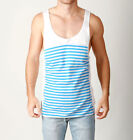 Mens SUPER STRIPE Loose Fit Singlet Casual Festival Cotton Tank- White