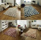 Large Contemporary Floor Rug Decorative Two Tone Diamond Design Home Furnishings