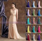 Unique V-neck Bridesmaid Dress Formal Evening Dress Size 6+8+10+12+14+16