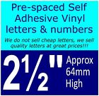 """QTY of: 8 x 2½""""  64mm HIGH STICK-ON  SELF ADHESIVE VINYL LETTERS & NUMBERS"""
