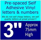 "QTY of: 4 x 3""  75mm HIGH STICK-ON  SELF ADHESIVE VINYL LETTERS & NUMBERS"