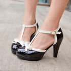 Womens Lovey T Strap Bowknot High Heel Pumps Patent Leather Mary Jane Shoes HOT