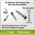 M2 A2 Stainless Steel SOCKET CAP Screws, Allen Key Socket Screw Bolts SMALL QTY