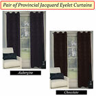 PAIR ( 2 Panels ) of Provincial Jacquard Eyelet Curtains -Chocolate or Aubergine