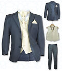 UK NEW BOYS FORMAL 5 PC GREY & GOLD PAGEBOY SUIT WEDDING CHRISTENING PROM