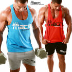 Mens MAKE IT HAPPEN Gym Singlets Stringer Racerback Tank Bodybuilding Workout
