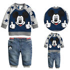 Children kids Clothing Set Baby Boy Mickey Mouse 2pcs Hoodies+Jeans Outfits 1-5Y
