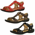 CLARKS Un Voshell Bronze Black Or Red Leather Casual ladies Sandals