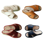 Womens 100% Natural Leather Slippers Mules Slip On Open Sandals Slides Size 3-8