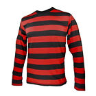 NYC Long Sleeve PUNK Menace Stripe Striped Shirt Black Red Men's S M L XL