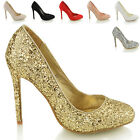 NEW LADIES STILETTO HEEL WOMENS EVENING PARTY PROM CLUBBING SLIP ON COURT SHOES