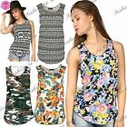 Womens Ladies Camouflage Military Army Print Stretch Sleeveless Vest T Shirt Top