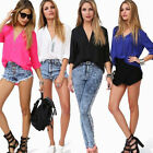 Sexy Womens V-neck Long Sleeve Casual Elegant Blouse Loose Tops Chiffon T-Shirt