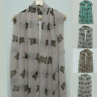 Women's Ladies' Fashion Large Dark Animal Cat Print Crinkle Scarf Shawl