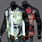 Stylish Men's Leather Splicing Jackets Coats Floral Fashion Raglan Sleeves WFR