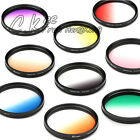 77mm 72mm Gradual Color Pink Green Yellow Grey Blue Red Brown Purple Lens Filter