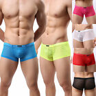 New Men Sexy Striped Sheer See-through Boxer Brief Underwear Shorts Underpant BE