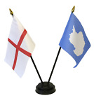 England and Antarctica Double Friendship Table Flag Set & choice of base