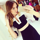 Trendy Women lady Chiffon Stripe V-Neck Half Sleeve Stitching Casual Shirt Dress