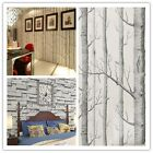 Portable Birch Tree/Brick Stone Pattern Textured Room DecorRoll Art Wallpaper Z