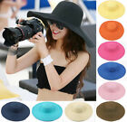 New Fashion Women Floppy Summer Sun Beach Hat Wide Large Brim Folding Straw Cap
