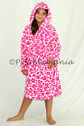 Girls Coral Fleece Hooded Dressing Gown Robe Hot Pink Leopard Sz 8 10 12 14