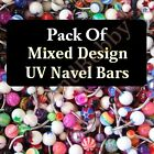 Mixed Pack UV Assorted Belly Navel Bar Rings Wholesale Body Piercing Jewellery