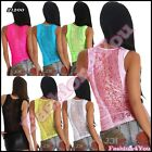 Sexy Ladies Lace Top Women's Summer Fitted Tank Vest Top Mesh One Size 6,8,10 UK