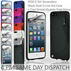 Wave S Line Gel Skin Case Cover + Free Screen Protector + Stylus for iPOD 5 5th