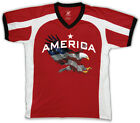 America Star Eagle Red White Blue Flag Colors USA Pride Men's V-Neck Sport Tee