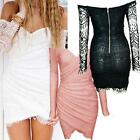 Women Long Sleeve Bandage BodyCon Lace #S Evening Sexy Party Cocktail MINI Dress