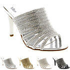 Womens Slip On Diamond Wedding Bridal Sandals Prom Stiletto Low Mid Heels UK 3-9