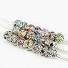 Wholesale Rhinestone Antique Silver Plated Charm Beads Fit European Bracelets