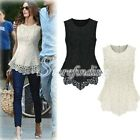 Ladies Lace Peplum Blouse Sleeveless Shirt Doll Lace Tops Elegant OL Style S-XXL