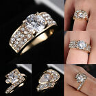 New 18k Gold Filled Cubic Zirconia CZ sapphire style Wedding Engagement ring Sz8