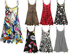 WOMENS LADIES CAMISOLE PRINTED TARTAN LEOPARD STRAPPY SWING MINI DRESS TOP 8-26