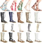 Women's Knee High Buckle Strapy Cage Cut Out Flat Gladiator Sandals Shoe Sz 7-10