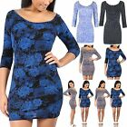 Womens 3/4 Sleeves Ladies Printed Scoop Neck Bodycon Dress