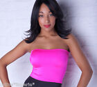 BOOB TUBE Long Top UV Neon PINK Stretch Lycra Party Club BANDEAU Womens Dance T9