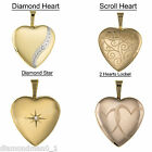 New 9ct Yellow Gold Lockets Heart Shaped 16mm