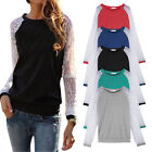 Fashion Sexy Womens Ladies Lace Splice Crew Neck Long Sleeve T Shirt Blouse Top
