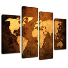 MAB092 Sepia Leather World Map Canvas Wall Art Multi Panel Split Picture Print