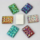 50PCS 10*14mm Crystal AB Color Resin Rhinestones Rectangle flatback Beads ZZ191