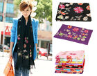 Free Shipping Autumn Winter Lady's Silk Pashima Embroider Flower Shawl Scarf