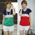 Womens Lady Summer Color Block Loose Short Sleeve Chiffon T-shirt Tops Blouse