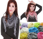 Fashion Lace Tassel Sheer Floral Print Triangle Mantilla Scarf Shawl Neck Wrap